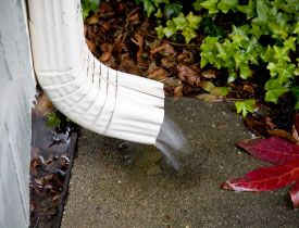 rain water coming out of downspout